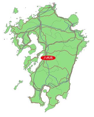 熊本県八代市の位置